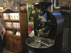 Fábrica Coffee Roasters' Probat in back