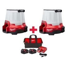 Milwaukee M18 ONE-KEY 18-Volt 4400-Lumen Radius LED Cordless Compact Site Light (2-Tool) W/ Free (2)5.0Ah Batteries & Charger