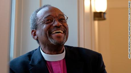 ALEXANDRIA, VA - OCTOBER 13: Reverend Michael Curry, the incoming presiding bishop of the Episcopal Church, sits at the Virginia Theological Seminary following the consecration of the newly built Immanuel Chapel on Tuesday, October 13, 2015, in Alexandria, VA.  Curry, who is currently the Bishop of the Diocese of North Carolina, will become the first African American presiding bishop of the Episcopal Church.    (Photo by Jahi Chikwendiu/The Washington Post via Getty Images)