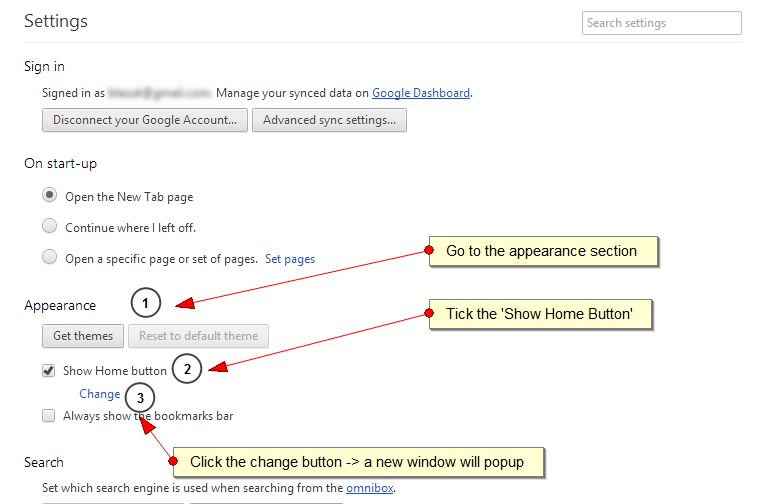 set your homepage on chrome- step 3