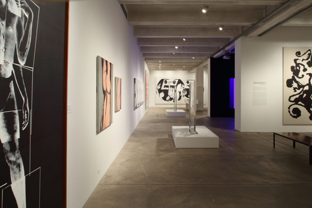 A photograph of the exhibition gallery during the My Perfect Body exhibit. Paintings are hung along the wall on the left hand side of the image, and to the right it is clear that the gallery is divided into rooms.