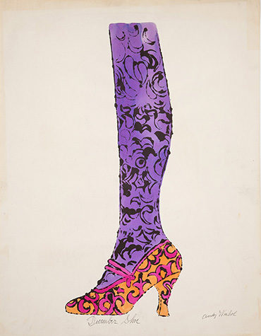 A watercolor painting of a leg from the knee down that is purple in color with designs painted in black. The foot of the leg is in a high heel shoe that is yellow with pink designs on it and a pink strap on the top. December Shoe is written in cursive writing below the shoe and Andy Warhol's signature is in the bottom-right corner.