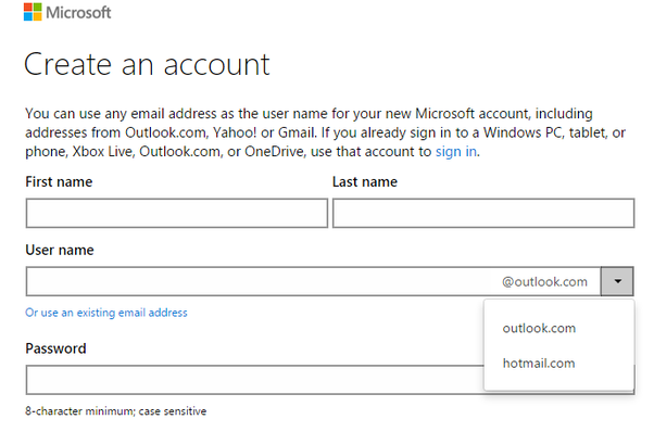 create account hotmail