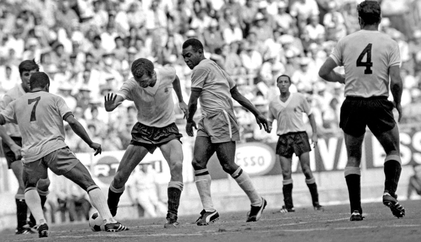 Brazil vs. Uruguay in a World Cup semifinal match on June 17, 1970 in Mexico.