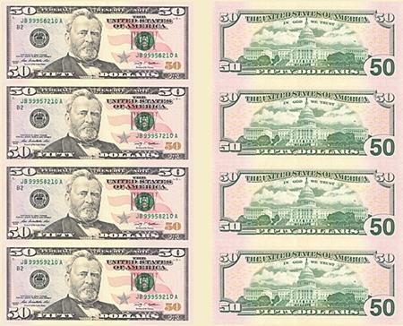 美元连体钞50美元4连体竖版(裸币)