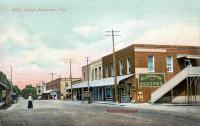 Main Street, Brenham, Texas showing W. T. Carrington Groceries, early 1900s