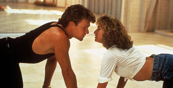 Patrick Swayze and Jennifer Grey crawling floor in Dirty Dancing