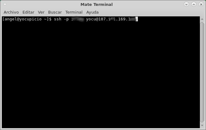 Comando ssh para conectarse al server.