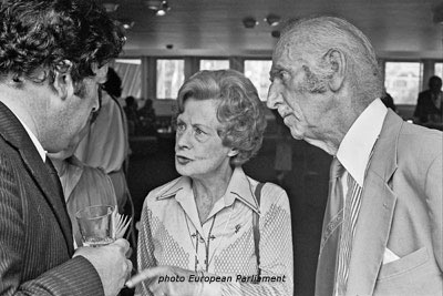 John Hume MEP, Barbara Castle MEP and Ted Castle, former MEP, in Brussels.