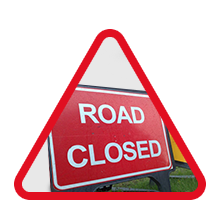 Road Closed sign in a triangle