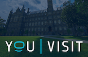 The Youvisit logo is displayed on a photo of Georgetown's Healy Hall.