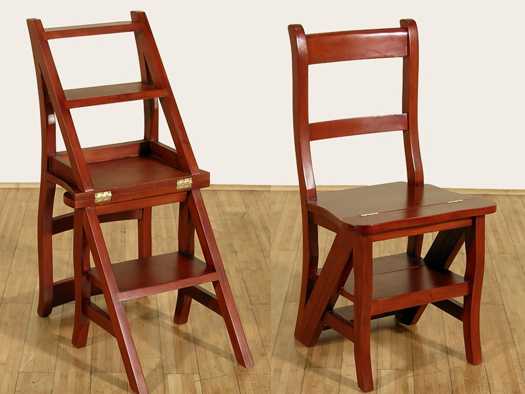 Image of: Kitchen Step Stool Chair Wood