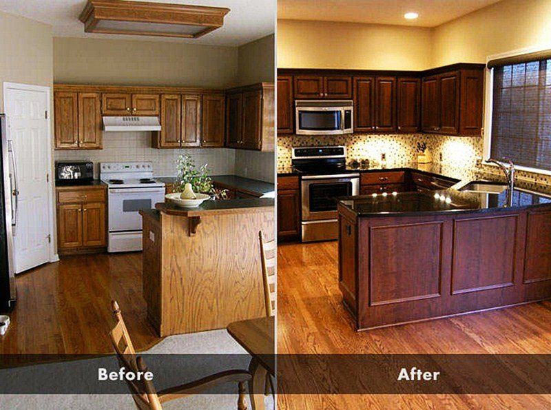 Image of: Staining Kitchen Cabinets DIY