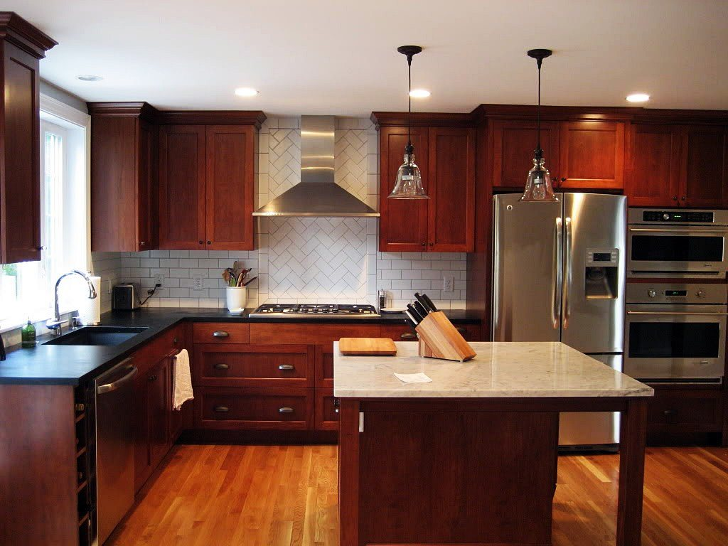 Image of: Staining Kitchen Cabinets Photo
