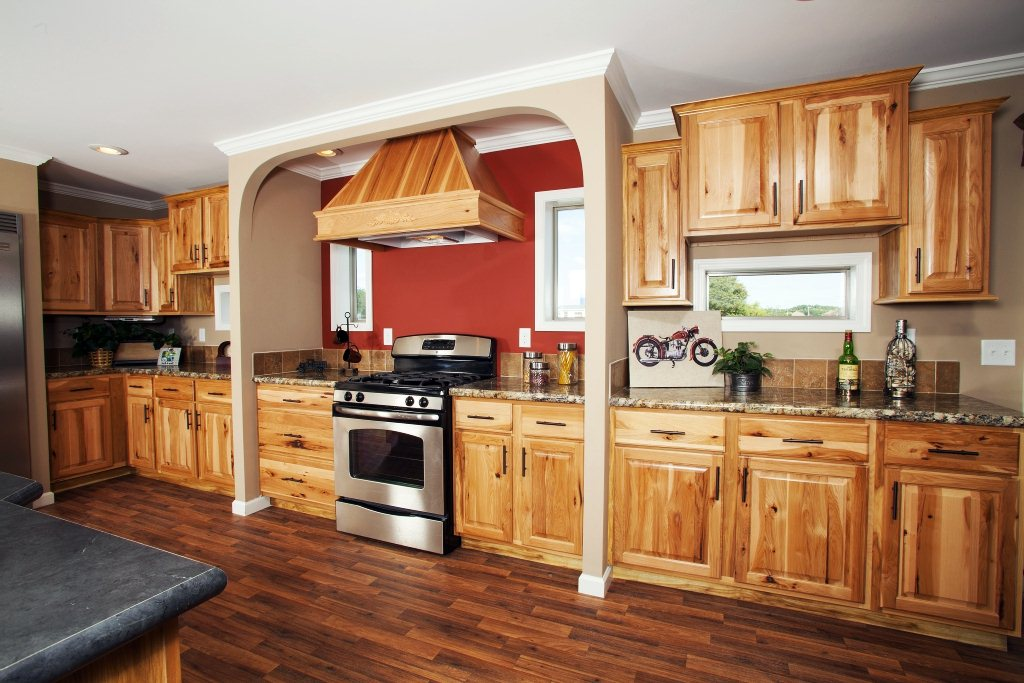 Image of: Natural Hickory Kitchen Cabinets