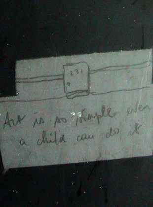 Art is so simple even a child can do it 1999, pencil drawing on metal door, 231 Franklyn Street