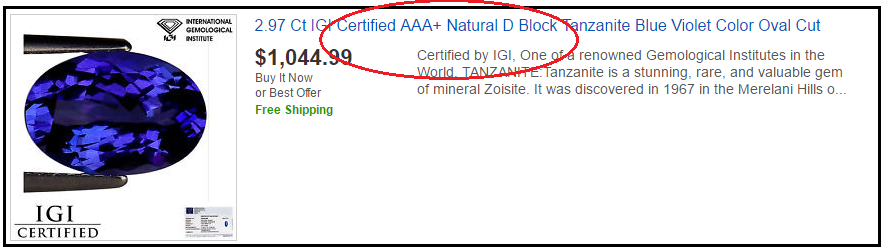 """"""" D Block"""" & """" AAA"""" tanzanite. Two phrases which have absolutely zero scientific basis."""