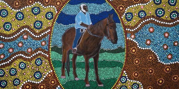 Painting by Leeann Merritt, Ollie looking proud of himself on a horse