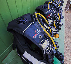 Scuba gear neatly prepared for dive trip