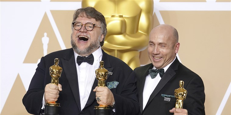 Guillermo del Toro posing in the Press Room during the 90th Academy Awards ceremony