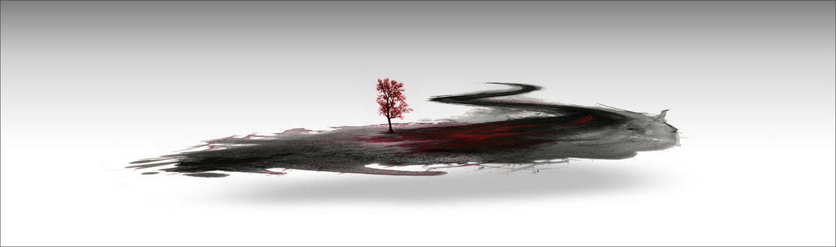 """Land,"" phoographic print of ink stain and tree. 38"" x 16"" 2009."