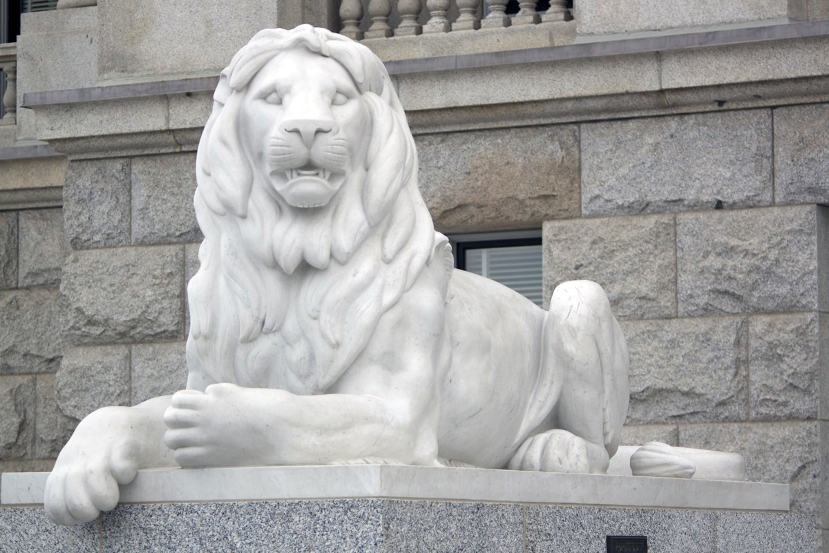 """The Lions"" by Gavin Jack. Restored by Ralphael Plescia. Photo by Kelly Green, September 2012."