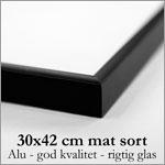 30x42 cm mat sort aluminium skifteramme