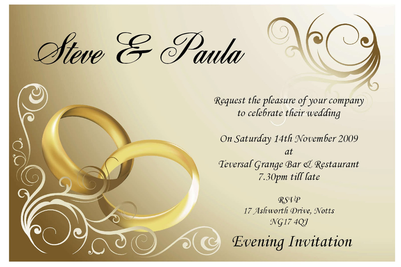 steve and paula wedding invitation template card