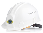 Charger Construction, LLC. helmet with logo