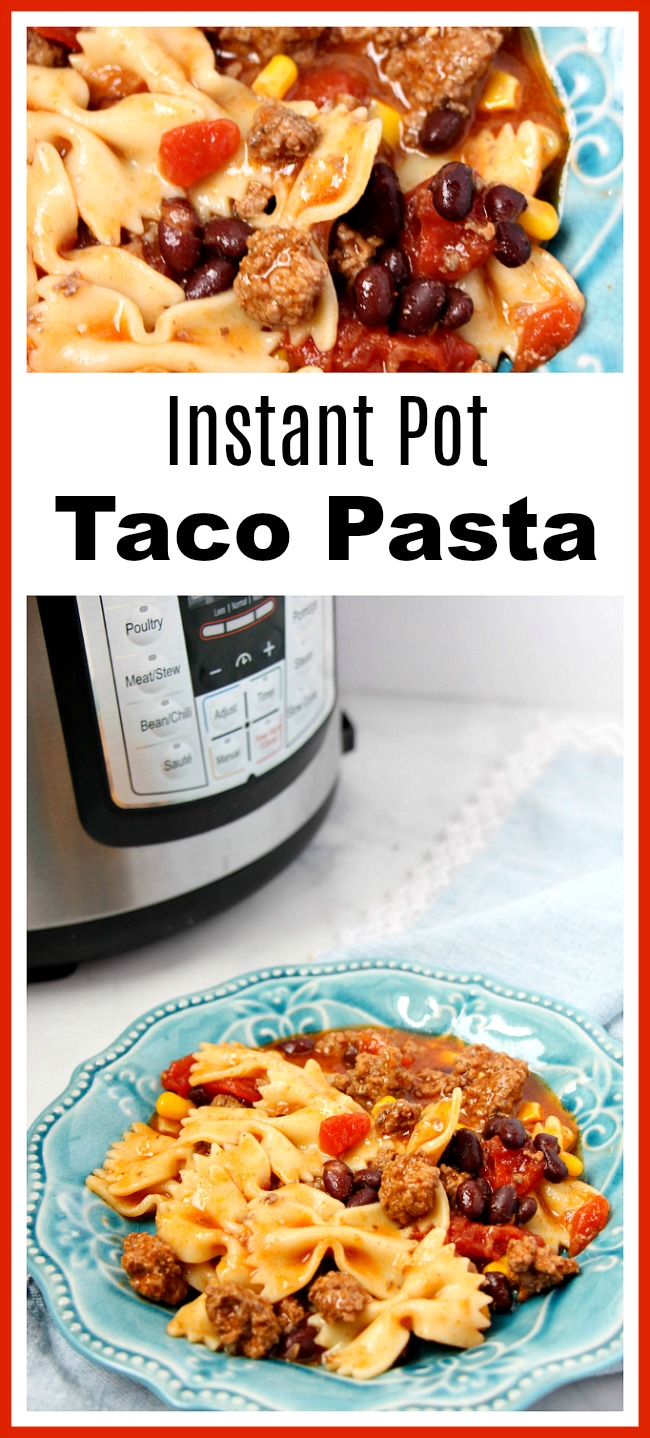 Taco Pasta Made in the Instant Pot- Want to try a delicious fusion of Mexican and Italian dishes? Then you have to make this taco pasta! It's made in the Instant Pot!   pressure cooker, recipe, dinner, easy, ground beef, InstaPot