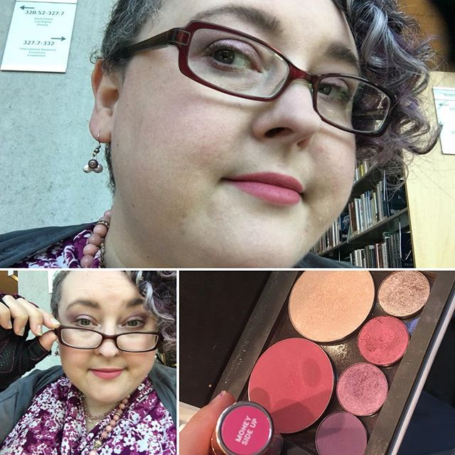 Yesterday's look, feeling more than a little disheveled by the end of the day. Hot and overexerted made my makeup seem less vibrant. I liked the color combo #colourpopme so I'm sharing it even still! Inspired by my cherry quartz necklace, cherry blossom shirt, and grey layer, I went for a light cool tone pearly look. My faborite lavender Silver Lining in the crease, and the color next to it Double Date on the inner lid. Pinky Promise was a great under eye color. And Snake Eyes with its fabulous amount of jazz on the outer lid, a little into the crease. Glass Slipper blush and Here Kitty Kitty highlighter was joined with some Milk cosmetics holographic stick in Stardust, but I must have had a light hand on it or faded from exertion! But not the @colourpopcosmetics Lux Lipstick in Money Side Up – that stays strong, with just the teeniest of reapplying needed on eating. #fancifulchatter I really want to take the time to do this exact same eye look when I have more than 5 sleepy mins to do it. I think it could be really, really a winner. 🙂