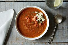 Watermelon Gazpacho with Feta and Mint recipe on Food52