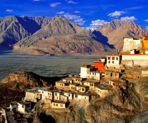 India --- India, Jammu and Kashmir, Ladakh Region, Nubra Valley, Diskit Buddhist Monastery --- Image by © Bruno Morandi/Hemis/Corbis