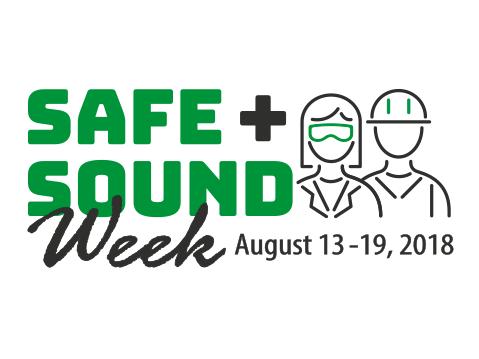 Logo for Safe + Sound Week, August 13-19