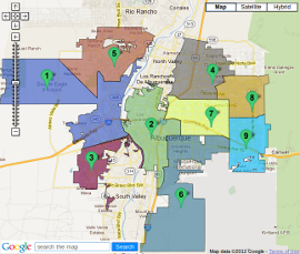 Click the map to see an interactive map of Albuquerque's Council districts.