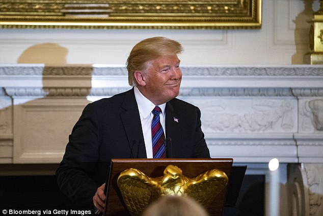 It comes after Trump (pictured) criticised the country's land reform plans in a tweet that touched on the overwhelmingly white ownership of farmland in South Africa - one of the most sensitive issues in the country's post-apartheid history