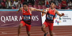 Indonesia wins silver in men's 4 x 100-m relay
