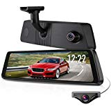 """X1PRO Rear View Mirror Dash Cam 9.88"""" Full Touch Screen Dual Lens with 1296P Front and 720P Super Night Vision Stream Media Backup Camera kit, WDR,LDWS, GPS,Auto-Brightness Adjusting"""