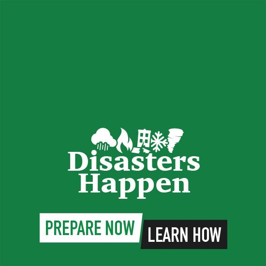 2018 National Preparedness Month logo in white and black on green background.