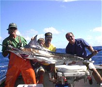Oct 2, 2002. David Scotka boats a 108 lbs. Striped Marlin with with Scot Spencer at gaff.
