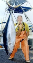 June 2002. Captain Rusty with 131 lbs. Yellowfin Tuna, Hanapa'a Jackpot Fishing Tournament.