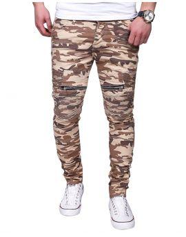 Jean fashion nervuré zipé camouflage beige
