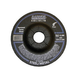 Radnor<sup>®</sup> 4 1/2 inch by 1/4 inch by 7/8 inch A24R Aluminum Oxide Type 27 Depressed Center Grinding Wheel
