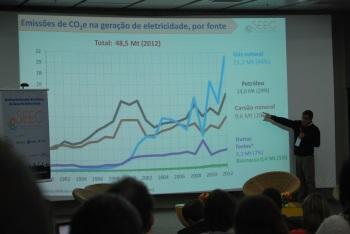 Enquanto pesquisadores, como André Ferreira (IEMA), envolvidos no levantamento dos dados do SEEG, apresentavam as estimativas de cada setor ...