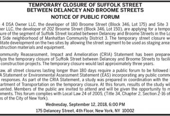 notice of public forum suffolk street closure