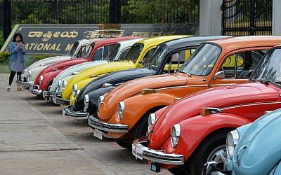 In this file photo taken on June 24, 2018 vintage Volkswagen Beetle cars are parked in a row during a rally held as part of the 23rd anniversary of 'World Wide VW Beetle Day,' in Bangalore, India. (AFP/Manjunath Kiran)