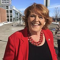 FILE - This March 17, 2018, file photo, shows Democratic US Sen. Heidi Heitkamp in Grand Forks, North Dakota (AP Photo/James MacPherson, File)