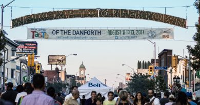 Sign saying Welcome To GreekTown Taste of The Danforth and crowds