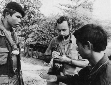 Sydney H. Schanberg, center, in Cambodia, August 1973