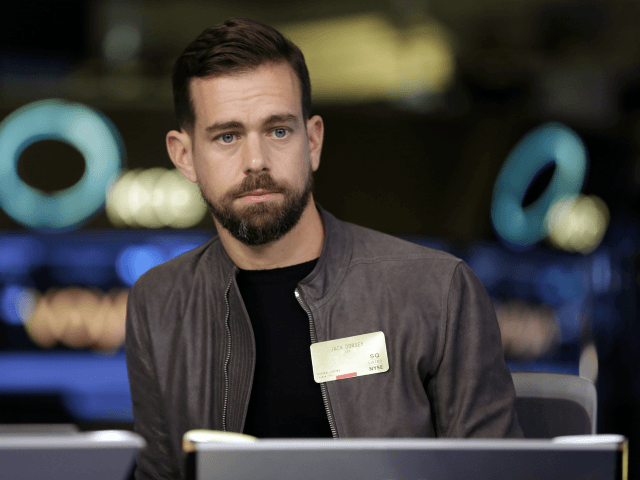 """This photo taken Nov. 19, 2015, shows Square CEO Jack Dorsey being interviewed on the floor of the New York Stock Exchange. Facebook COO Sheryl Sandberg and Twitter CEO Dorsey won't stand for re-election to the board of The Walt Disney Co. A Disney spokesperson says it has become """"increasingly …"""